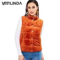 VESTLINDA Velvet Vest Women Puffer Waistcoat Snap Button Stand Collar Sleeveless Thick Warm Winter Vest Fashion Orange Slim Vest