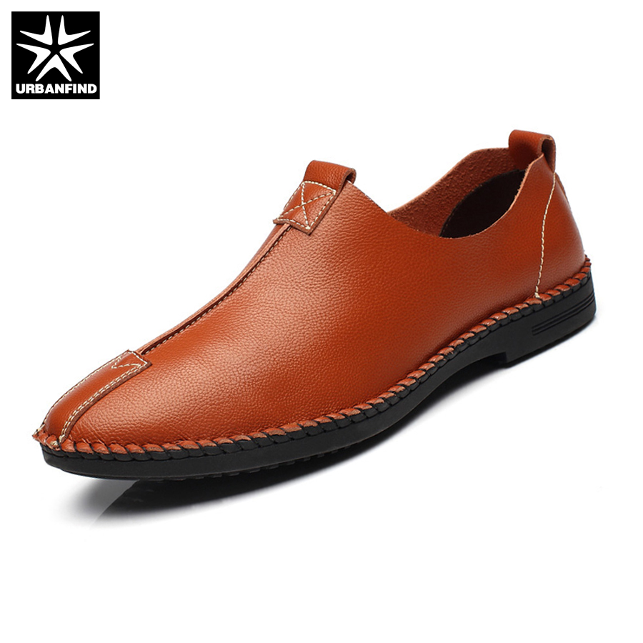 URBANFIND Comfortable & Soft Men Leather Casual Shoes EU Size 38-44 Solid Color Man Fashion Slip-on Loafers brand fashion men shoes quality leather loafers eu size 38 44 soft rubber sole man casual driving shoes