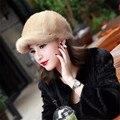 Genuína Inverno 2015 Chapéu Forrado a Pele de Vison cap em roupas femininas Fur Mantilha Cap Moda Quente Chapéus Chapelaria