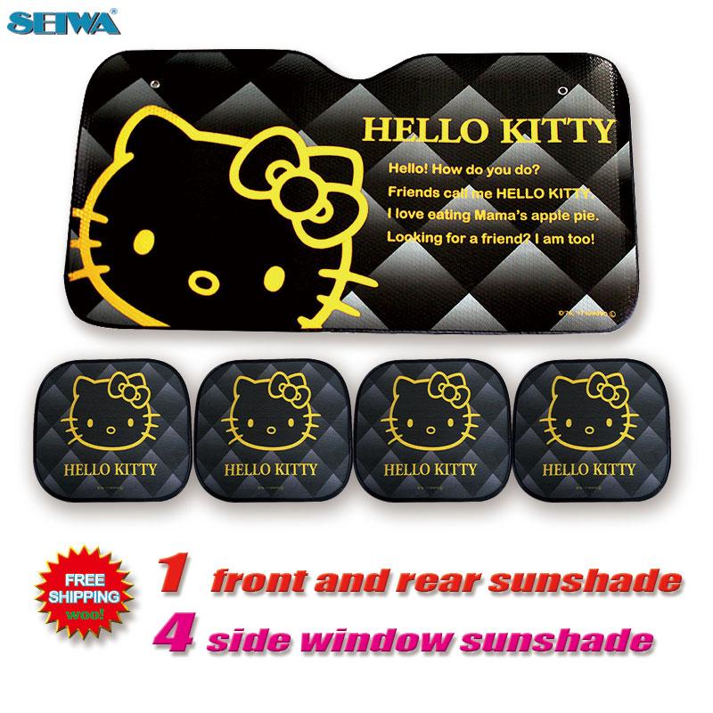 Car Accessories Cartoon Hellokitty Front Side Window Sunshade Foils Windshield Visor Cover UV Protect Car Window Film Sun Shade