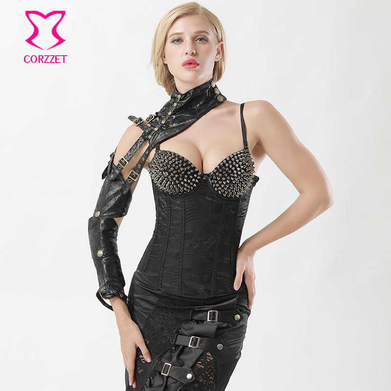 Gothic Punk Black Faux Leather Buckle Belt Removable Long Arm Sheath Steampunk Arm Armor Sleeve Sexy Corset Cosplay Accessories
