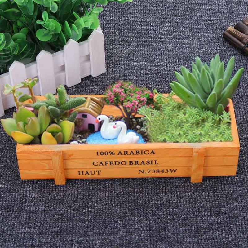 Garden Plant Pot Decorative Vintage Succulent Wooden Boxes Crates Rectangle Table Flower Pot Gardening Device