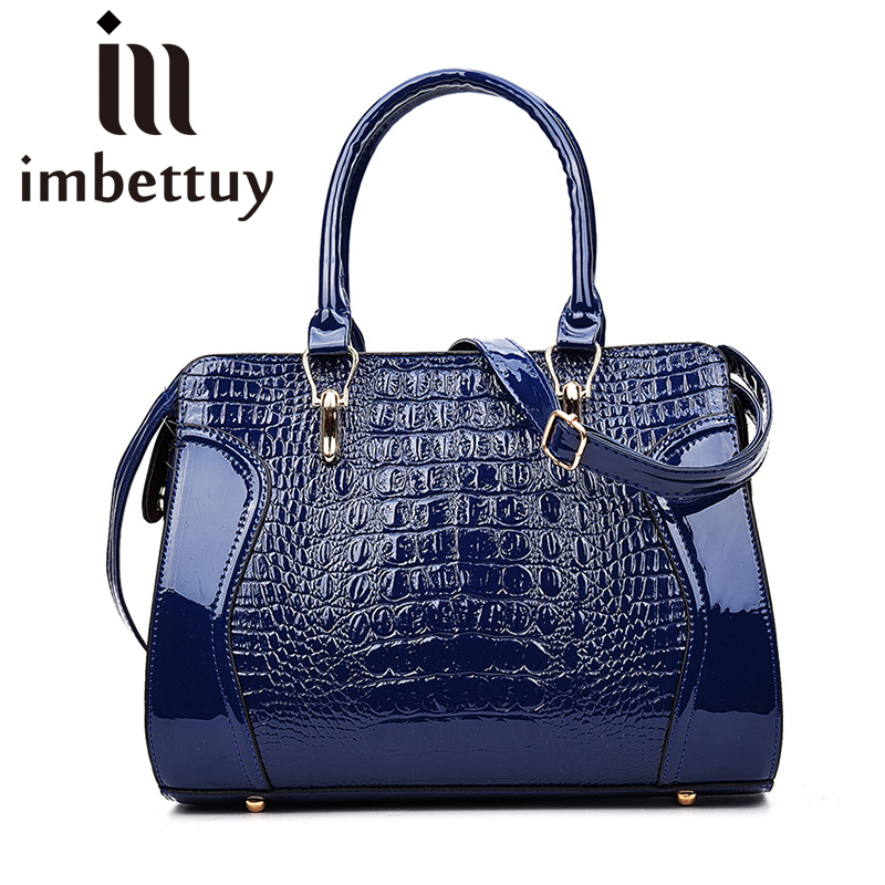 Imbettuy brand women handbag Patent leather tote bag female classic alligator prints shoulder bags ladies handbags messenger ba