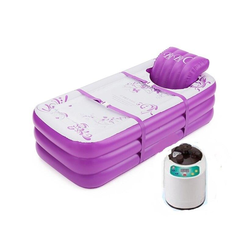 Bañera inflable plegable para adultos baño hogar engrosamiento aislamiento vapor Sauna Spa cuerpo reclinable artefacto de calefacción-in Bañeras hinchables y portátiles from Hogar y Mascotas    1