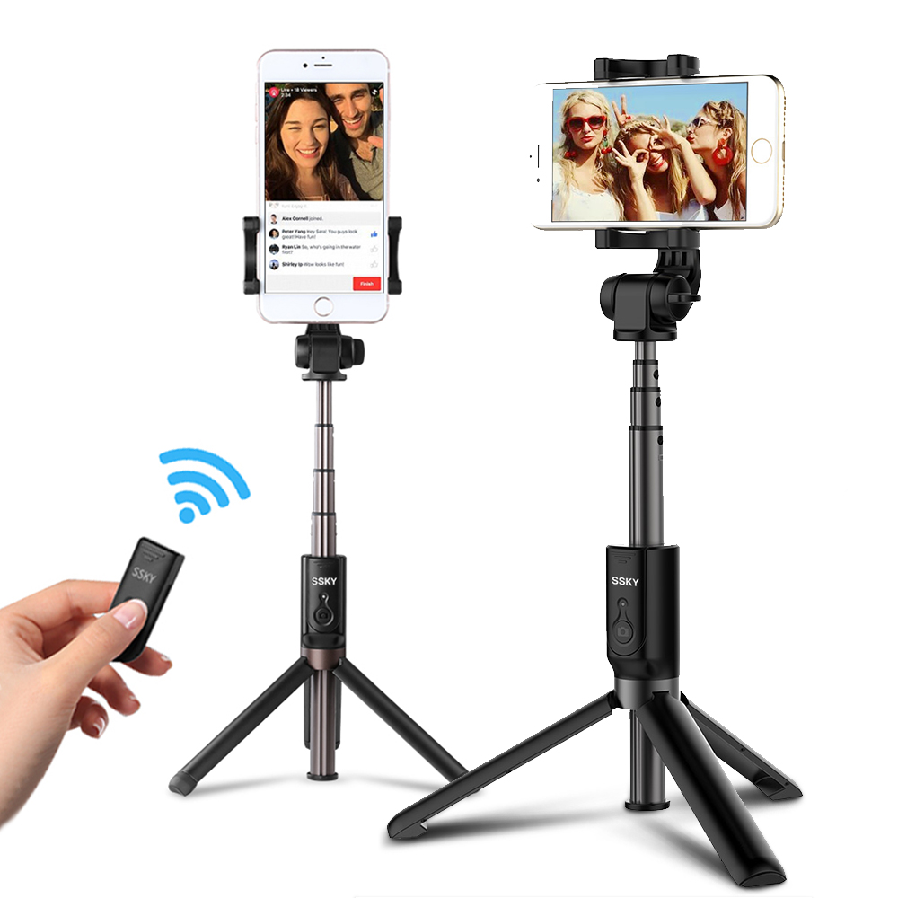 3 en 1 Selfie Stick teléfono trípode extensible 26 pulgadas Monopod con Bluetooth Remote para Smartphone iPhone X 8 6 samsung S8 S9 nota