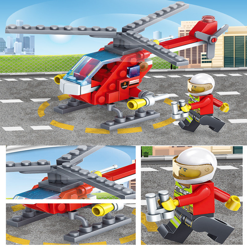 KAZI-80512-City-Fire-Fighting-Car-Helicopter-Boat-Building-Blocks-LegoINGlys-Fire-Fighter-Bricks-Lepin-Technic (4) -