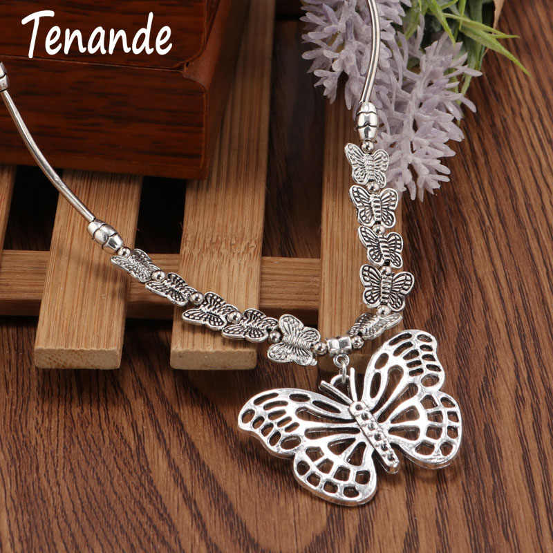 Tenande Boho Tibet Silver Color Big Statement Butterfly Double Layer Small Butterflies Flying Chain Pendant Necklaces for Women
