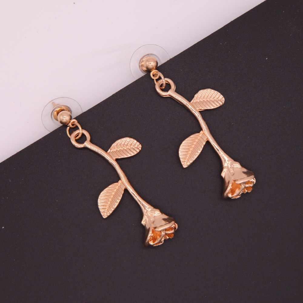 Vintage Gold Farbe Blume Schmuck Set Eqxuisite Rose Anhänger Halskette Rose Ohrringe Für Frauen elegante Hochzeit Schmuck Geschenk A34
