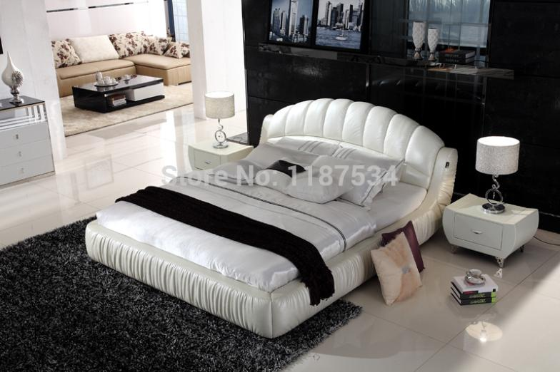comfortable bed PU+PVC modern soft bed leather soft bed large size bed-C336 bed