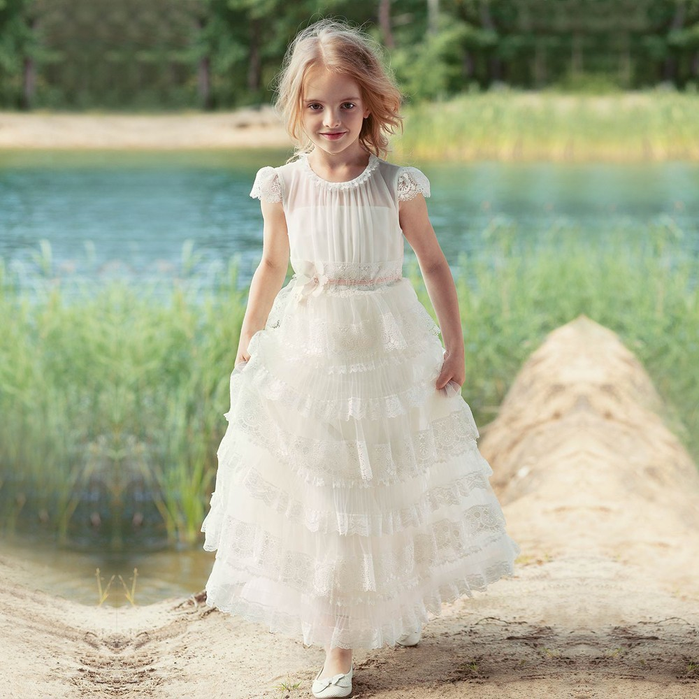 New Princess Dress For Weddings White Lace Cap Sleeve First Communion Dress Pageant Gowns Flower Girls Dresses Any Size plus size feather print cap sleeve fake dress