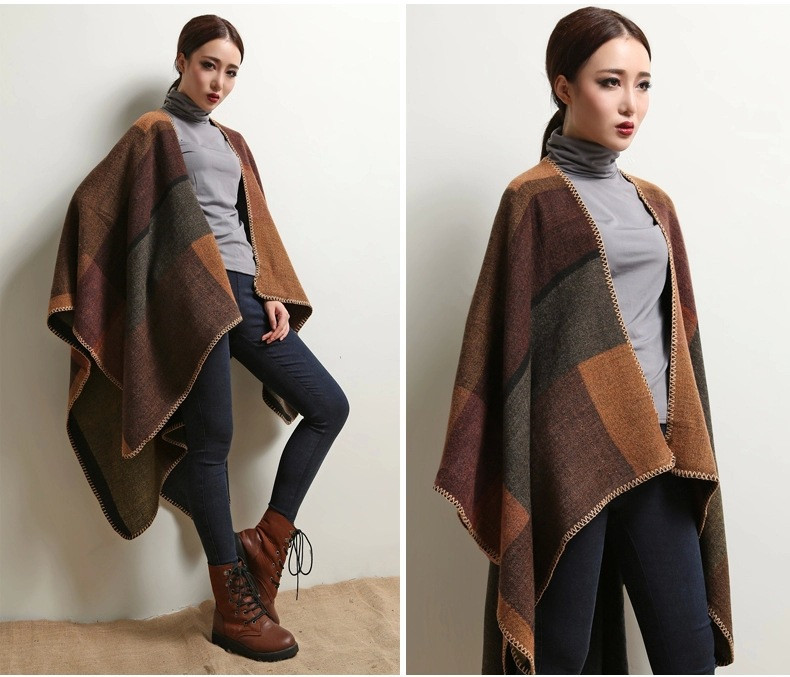 Women's Winter Poncho, Vintage Blanket, Women's Lady Knit Shawl, Cashmere Scarf Poncho 20