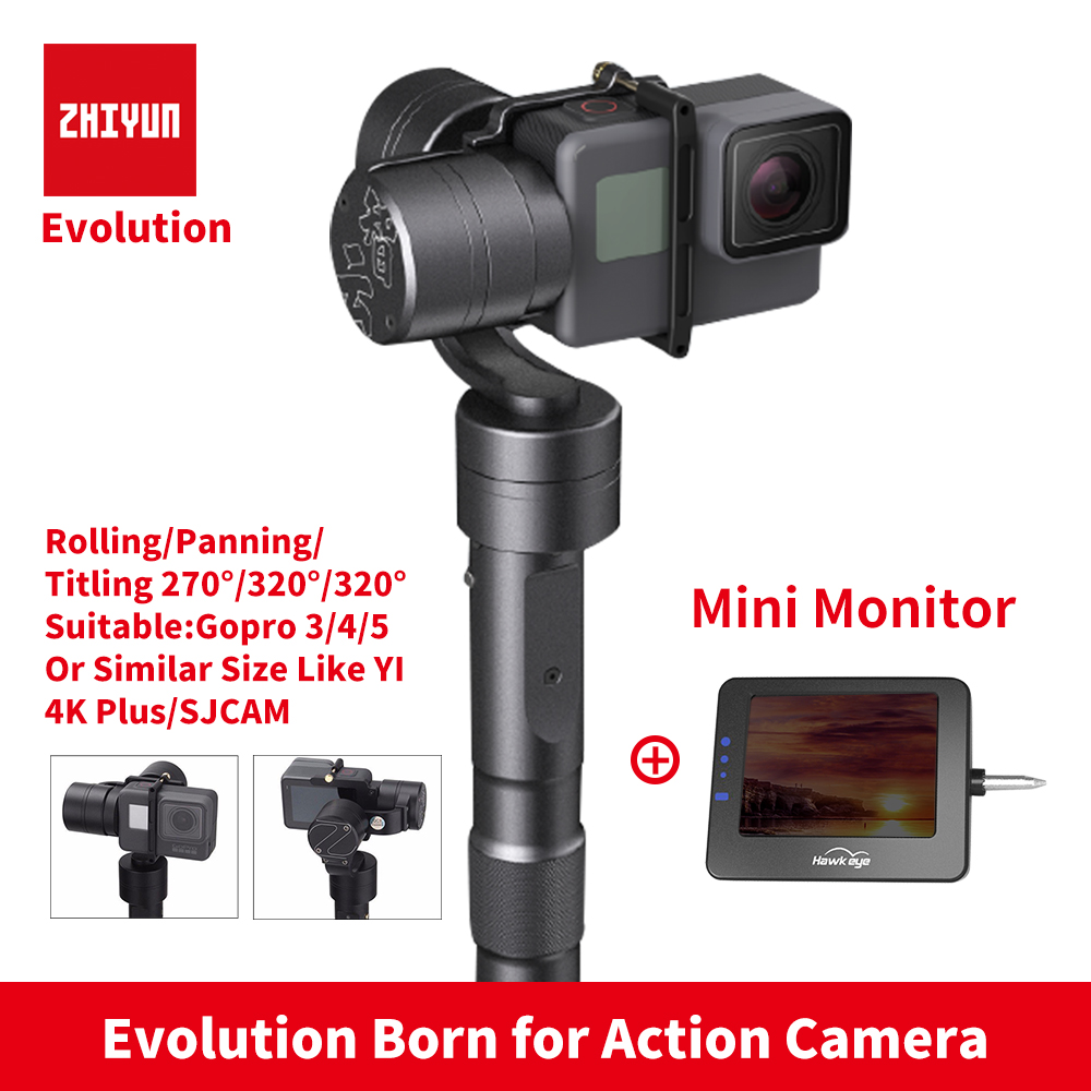 Zhiyun Z1 EVOLUTION 3 Axis Gimbal Brushless 320 Degree Moving Handheld Gimbal Stabilizer for GoPro sjcam YI Action Cameras стоимость