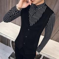 Fashion 2019 Shirt Men High Quality Striped Shirts Men Slim Fit Fake 2Piece Long Sleeve Men Shirt Dress Night Club Party Tuxedo