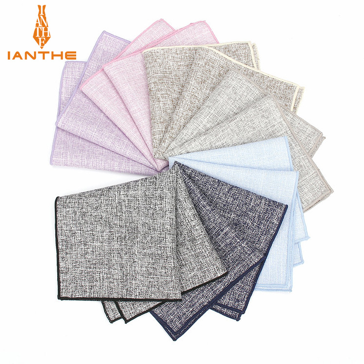 2018 Brand New Men's Fashion Cotton Solid Pocket Squares For Men Handkerchief Wedding Vintage Hanky Suits Pocket Hankies Towel