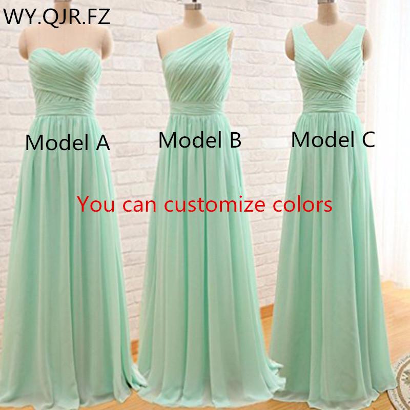 QNZL 95#Custom Colors Long Bridesmaid Dresses Mint Green Chiffon Wedding Party Dress Party Gown Wholesale Women's Cheap Clothing
