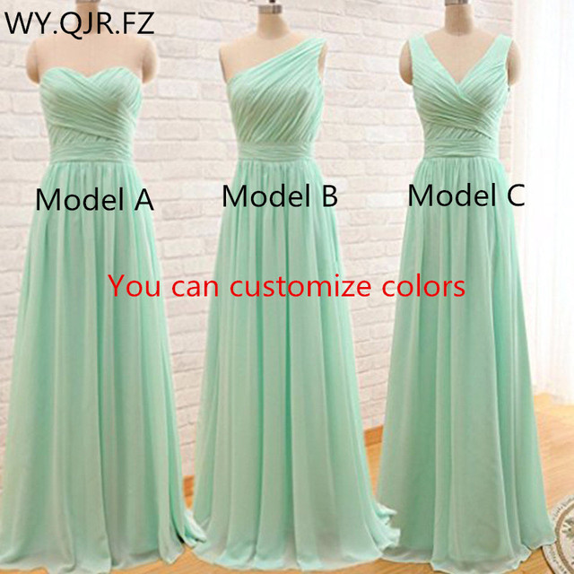 QNZL95#Custom Colors Long Bridesmaid Dresses Mint Green Chiffon Wedding Party Dress Party Gown Wholesale Womens Cheap Clothing