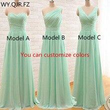 QNZL95 # ที่กำหนดเองสีชุดเพื่อนเจ้าสาวยาวMintสีเขียวChiffonงานแต่งงานชุดพรรคขายส่งผู้หญิงเสื้อผ้าราคาถูก