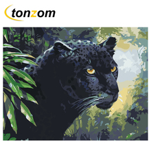 RIHE Black Leopard Diy Painting By Number Forest Oil On Canvas Hand Painted Cuadros Decoracion Acrylic Paint Home Art