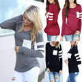 Women Casual Crochet Pullover Long Sleeve Loose T Shirt Ladies Tops  Plus Size
