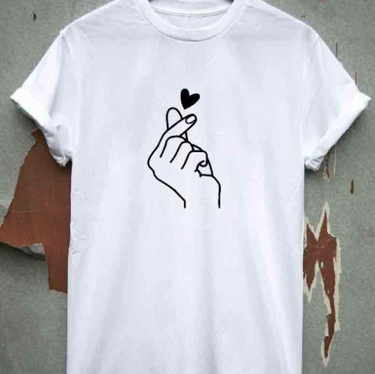 Plus size XS-4XL T-shirt Vrouwen Casual Wit Zwart O-HALS t-shirt voor Vrouwelijke Werkkleding Hart Gedrukt Tops en Tees NS9053