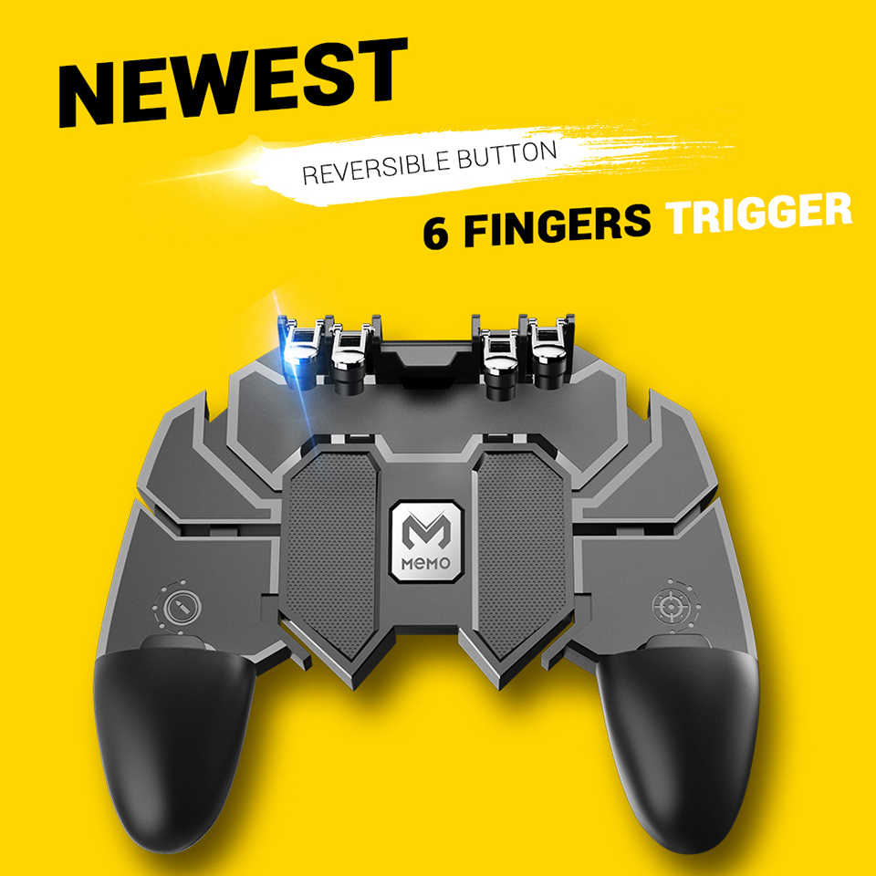 AK66 Mobile Phone Game Handle 90 Degrees Rotate New Game Helper For PUBG  Gamepad's Six Finger Trigger All In One Controller Game| | - AliExpress