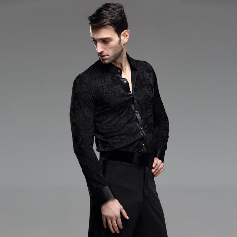 Picture of Ballroom Dance Shirt Mens Latin Shirt Mens Ballroom Shirts Mens Latin Dance Costumes Dance Top Mens Ballroom Dancewear