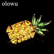 Olowu Мода фрукта ананаса CZ броши для Для женщин, ювелирные изделия для девушек, желтый и зеленый цвета из цветного циркона, хрусталя, брошь с застежкой
