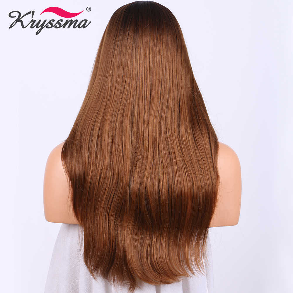 Długa prosta brązowa peruka peruka ombre z ciemnobrązowym do jasnobrązowego syntetyczna koronka przodu peruki dla kobiet 18 cali żaroodporne