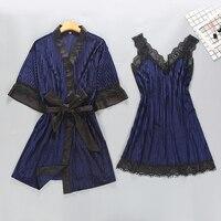 b5dd9b5134092 Women Sexy Velour Robe Gown Set Spring Autumn Bathrobe Set 2 Pieces Solid  Kimono Nightdress Lace. US $36.99 US $25.89. Kadın Seksi Kadife Robe elbise  ...