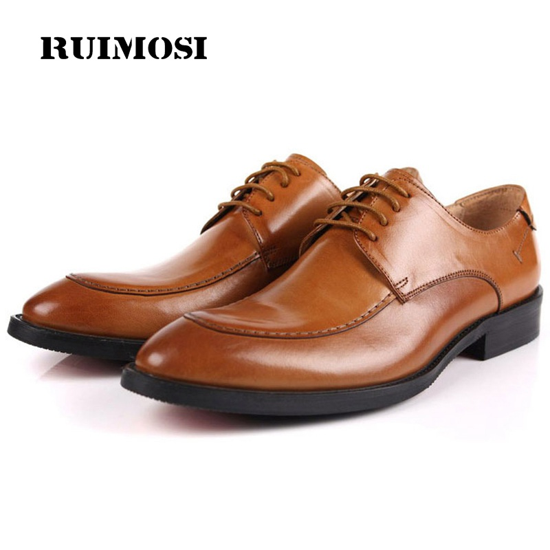 RUIMOSI Formal Man Derby Dress Shoes Male Genuine Leather Designer Oxfords Luxury Brand Comfortable Men's Handmade Footwear IH43