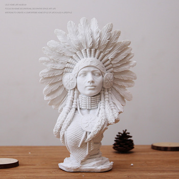 Modern Resin Pure White Indian Figurines Crafts Model Room Sandstone Plaster Sculpture Portrait Character Ornaments Decoration