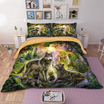 Serigala Kebahagiaan Keluarga Set Tempat Tidur untuk Penghibur Duvet Cover Set dengan Bantal Kasus Penuh Queen King Bed Cover HD Print seprai