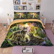 Волк Семейный комплект постельного белья счастье семья набор пододеяльников для пуховых одеял наволочки Твин Полный queen King 3D животных покрывало HD печати Постельное