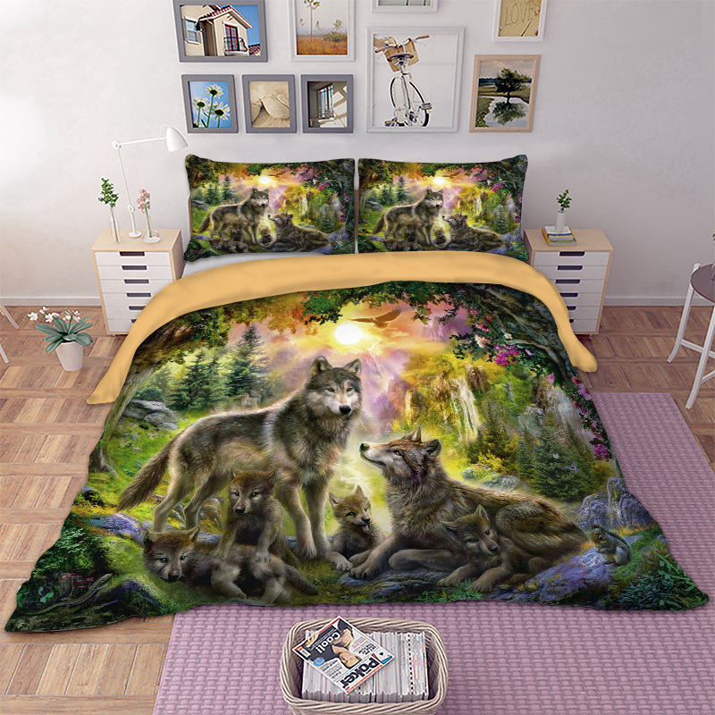 Wolf Family Bedding Set Happiness Family Duvet Cover Pillow Cases Twin Full Queen King 3D Animal Bed Cover HD Print Bedclothes