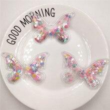 12pcs/lot 7x5cm Mix color Transparent Butterfly Sequins Flowing Appliques DIY Accessories Craft Handmade Decoration