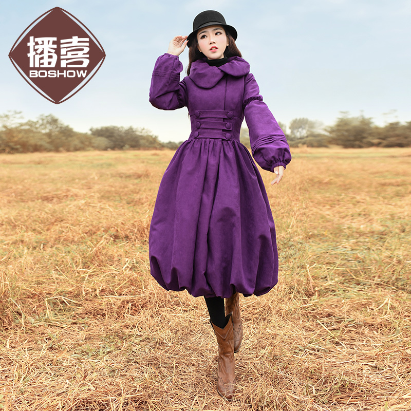 Free Shipping Boshow 2017 New Fashion Long Knee-length Winter Women Royal Vintage High Waist Thick Ladies Dress Trench Jacket