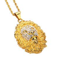Fashion Mens Hip Hop Gold Plated Necklaces Lion Head Pendent Studded Crystal Stainless Steel Design Filling