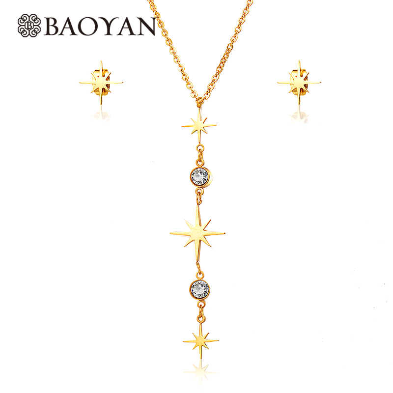 BAOYAN Gold Plating สแตนเลสสตีลชุดเครื่องประดับ Cubic Zirconia ชุดเครื่องประดับงานแต่งงาน Golden Polaris Star ชุดเครื่องประดับสำหรับผู้หญิง