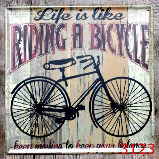 30x30cm Vintage Rideing A Bike Home Decor Tin Sign For Wall Metal Art