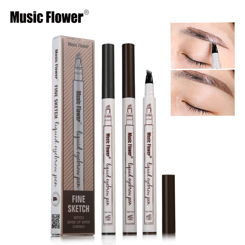 Ready Stock Music Flower Makeup Fine Sketch Liquid Eyebrow Pencil Waterproof Tattoo Super Durable Smudge-proof Eye Brow Pen