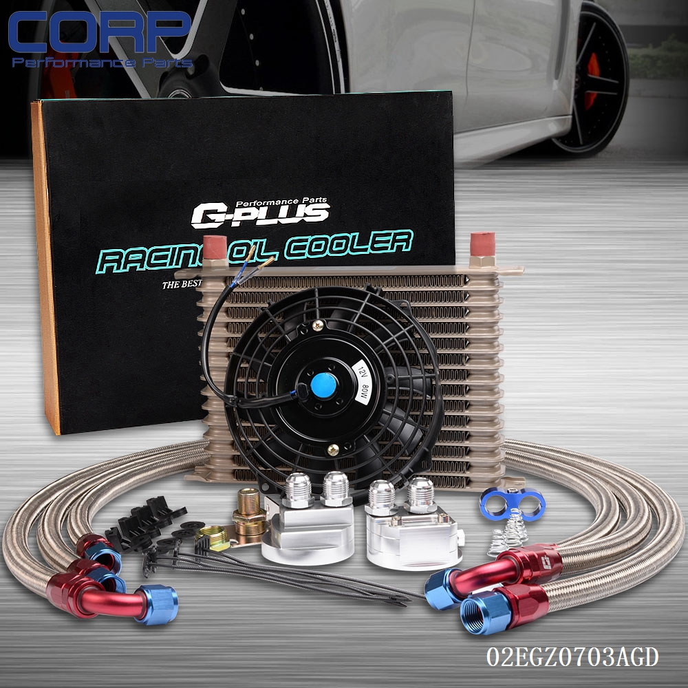 15 Row AN-10AN Universal Engine Oil Cooler+Filter Relocation Kit+ Fan pqy racing universal 30 row an10 engine transmiss oil cooler kit filter relocation blue page 4