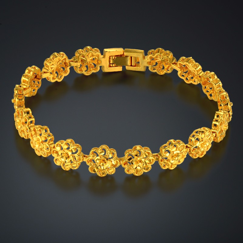 Bracelet Women Jewelry Wholesale Bracelt Female 18.5cm Gold Color Flower Charm Bracelets & Bangles Braslet 2017
