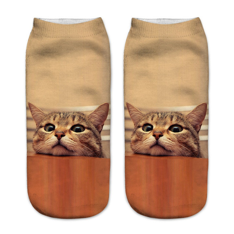 Cute cat print 3D socks happy funny socks men Women comfortable Medium Sports Casual Work Business Socks #2S29 (13)