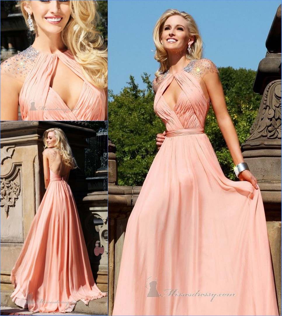 Free Shipping Open Back Cap Sleeve Beading Pink Women Formal Prom