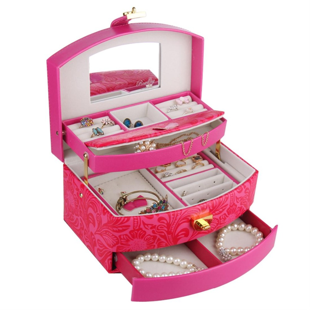 Large Jewelry Box And Packaging Leather Watches Display Organizer Gifts Boxes For Jewellery 3 Layers Storage