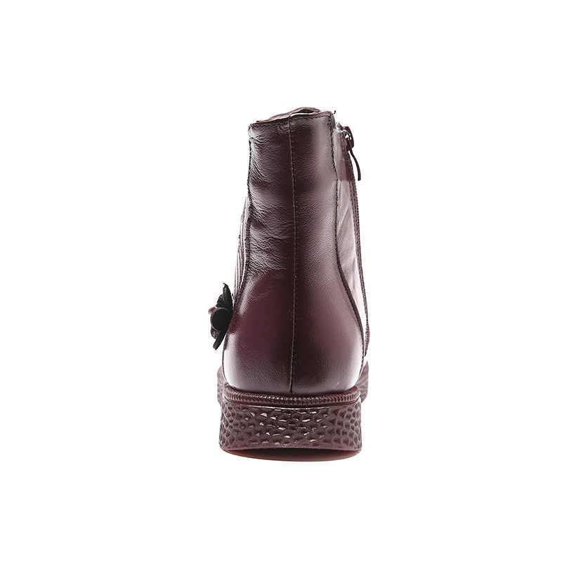 Kadın düz platform ayakkabılar sonbahar kış ayakkabı hakiki deri yarım çizmeler için kadın ayakkabısı yumuşak Vintage bayanlar patik 2019