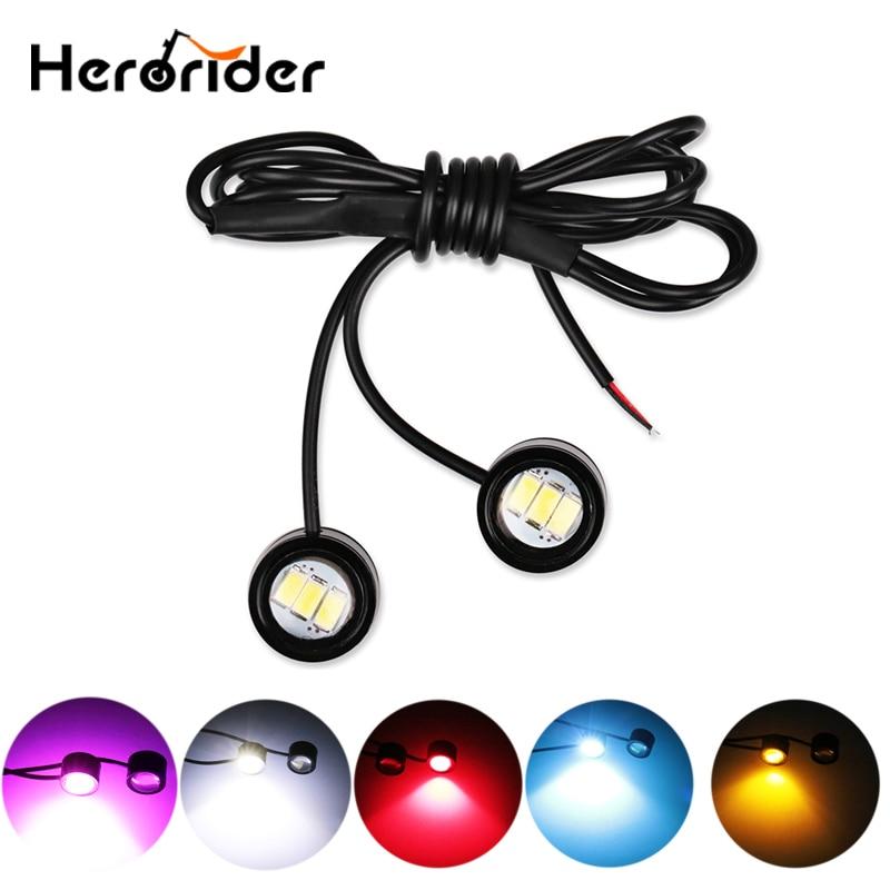 1 Pair Motorcycle Led Strobe Light Flash Warning Brake Light 12V Spotlight Fish Eye Lens Lamp Amber Red Blue Decorative Lamp