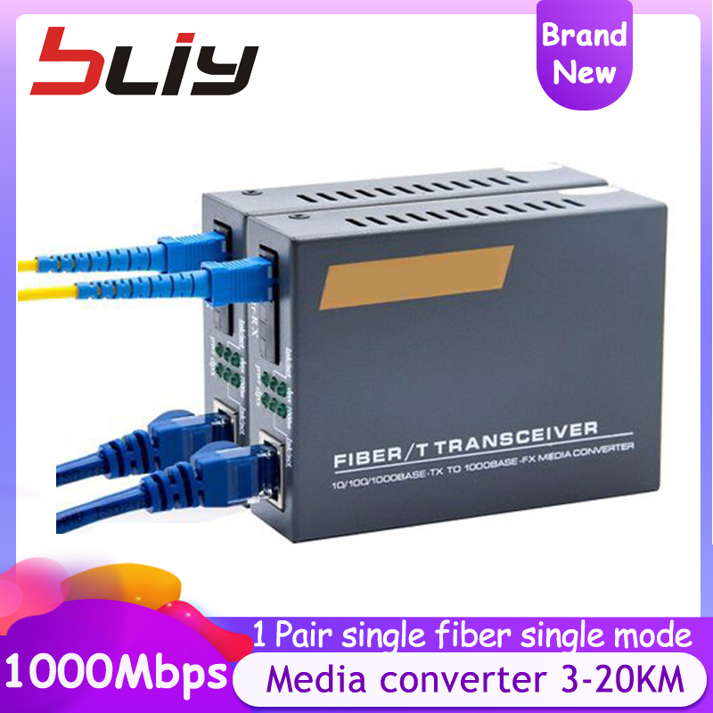 10/100/1000Mbps Gigabit 3KM 20KM Media Converter Fiber Optic Transceiver FTTH Optic Fiber Conversor De Fibra Ethernet Switch