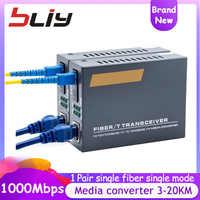 10/100/1000Mbps gigabit 3KM 20KM convertidor de medios de Fibra óptica transceptor FTTH Fibra óptica convertidor de Fibra ethernet switch