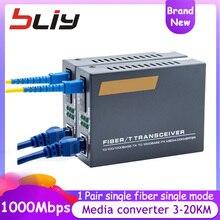 10/100/1000Mbps gigabit 3KM 20KM medya dönüştürücü fiber optik alıcı verici FTTH optik fiber converse de Fibra ethernet anahtarı